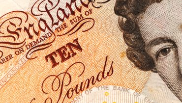 Detail of a british ten pound note.