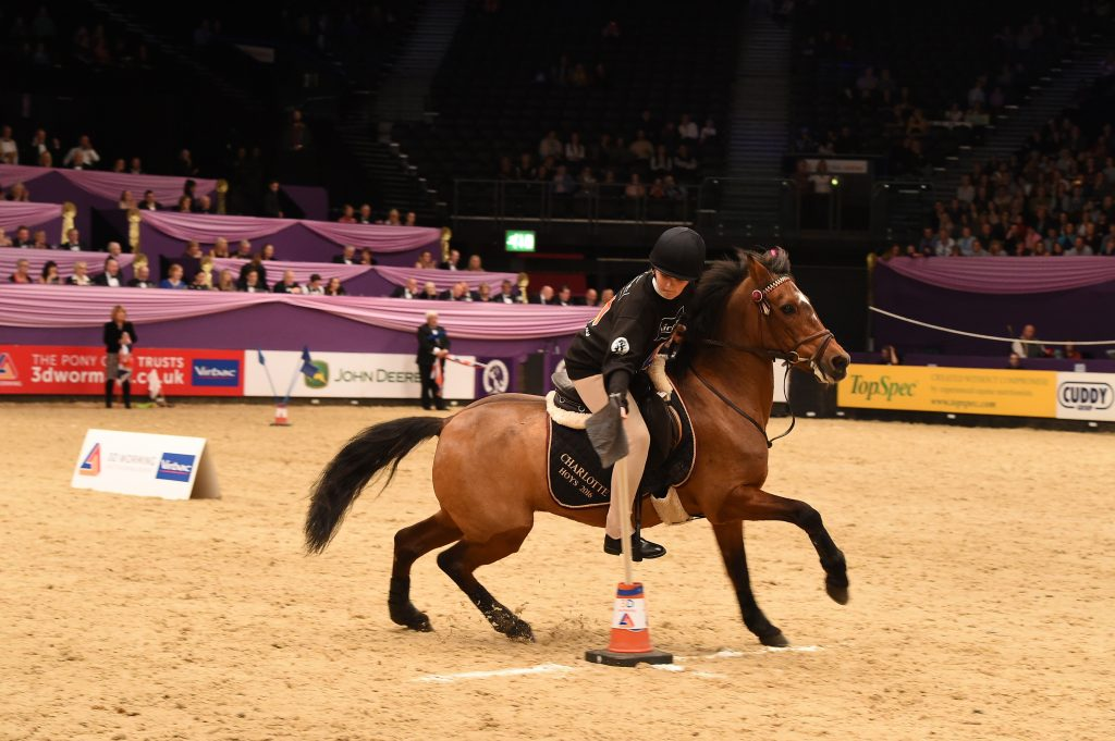Members of East Kent Hunt Pony Club, winners of the Prince Philip Cup during the Sunday night of HOYS in the NEC in Warwickshire in the UK on 8th October 2016